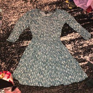 Green/blue pattern smock waist off shoulder dress